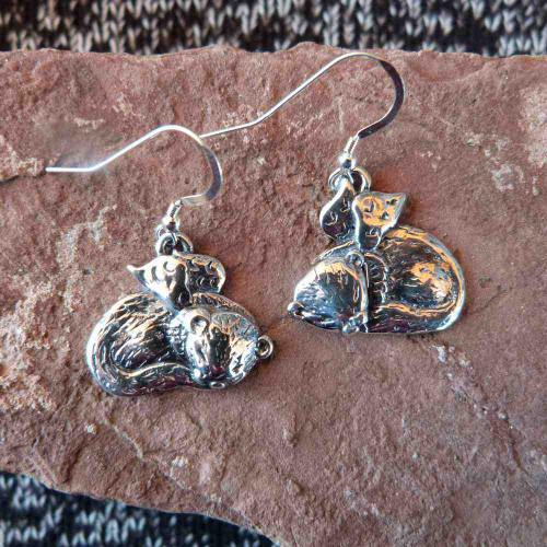 Sterling Silver Ferret Angel Earrings