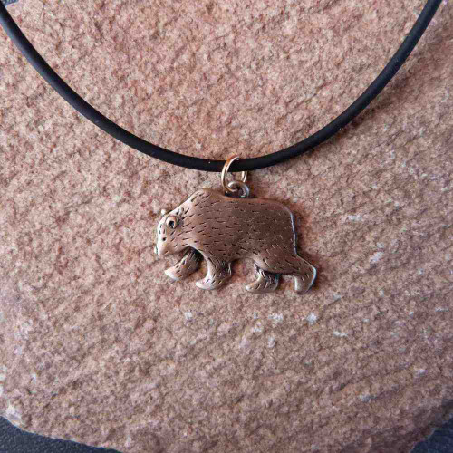 Bronze Grizzly Bear Necklace