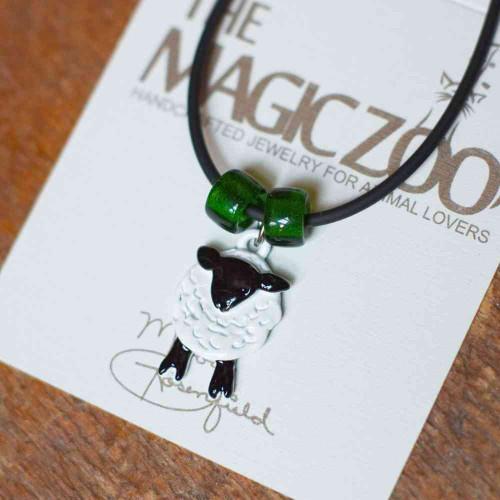 Enamel Black and White Sheep Necklace