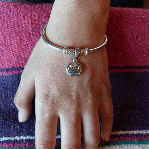 Pandora Style Paw Print Charm Bracelet