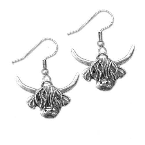 Pewter Highland Cow Earrings