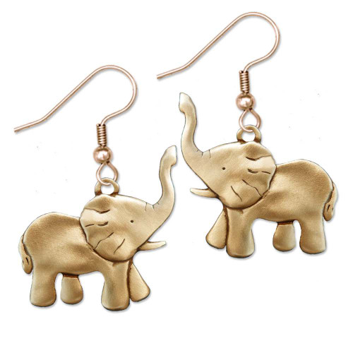 Bronze Elephant Full Body Earrings