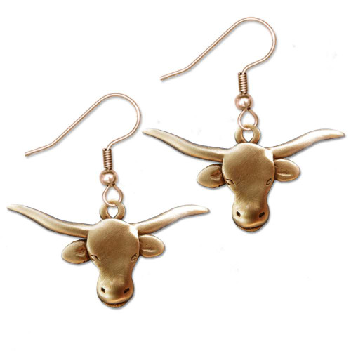 Bronze Texas Longhorn Earrings
