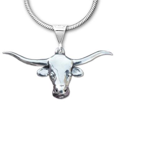 Sterling Silver Texas Longhorn Large Pendant