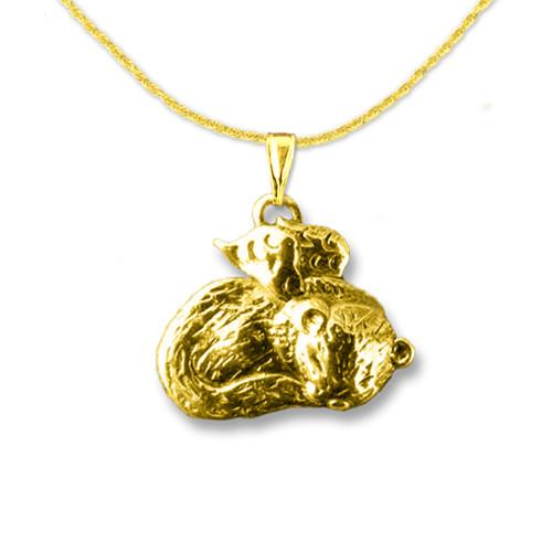 14K Gold Ferret Angel Pendant