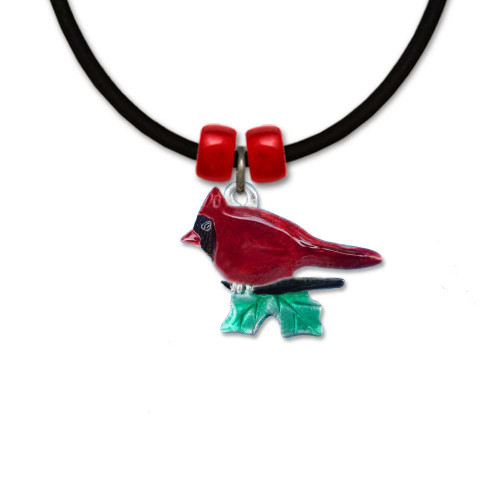Enamel Cardinal and Holly Necklace