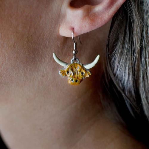 Enamel Highland Cow Earrings