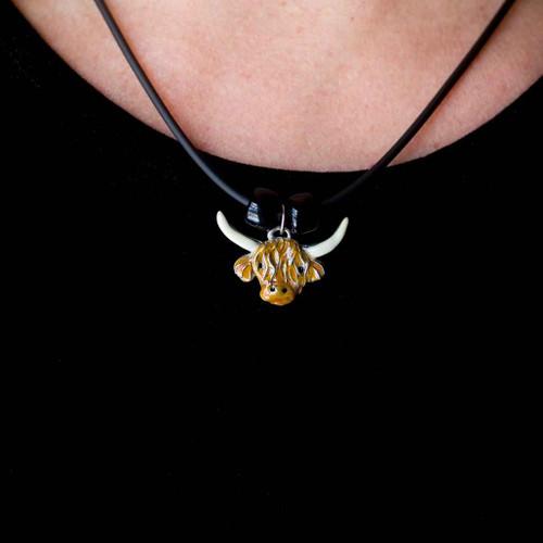 Enamel Highland Cow Necklace
