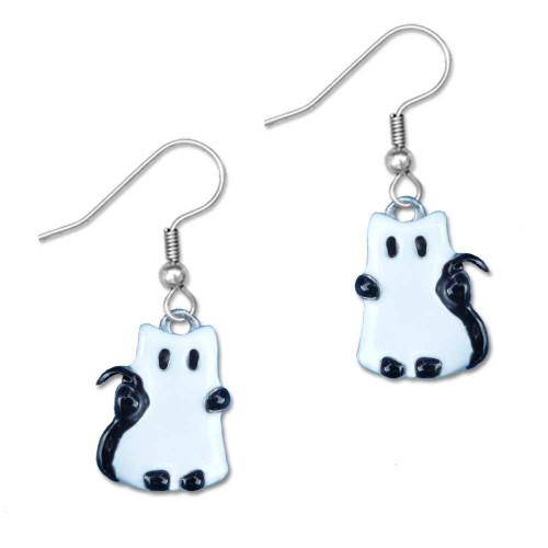 Enamel Ghost Cat Earrings