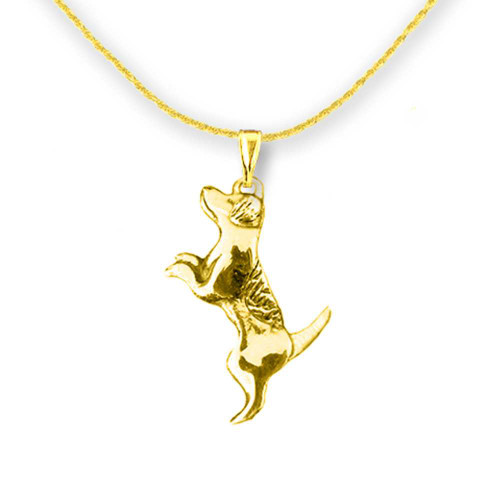 14K Solid Gold Jack Russell Terrier Pendant
