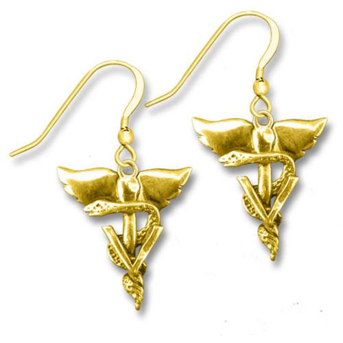 14K Gold Winged Veterinary Caduceus Earrings