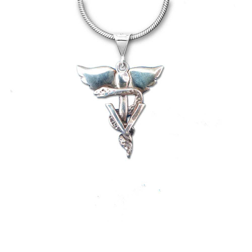 Sterling Silver Winged Veterinary Caduceus Pendant