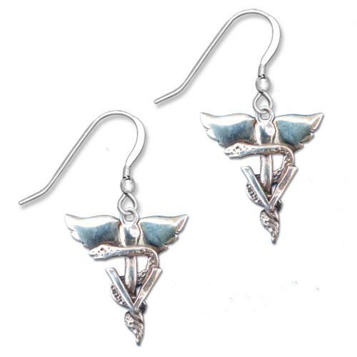 Sterling Silver Winged Veterinary Caduceus Earrings