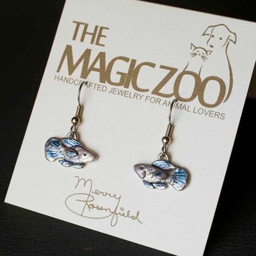 Enamel Lilac Blue Fish Earrings