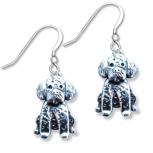 Sterling silver Portuguese Water Dog Earrings