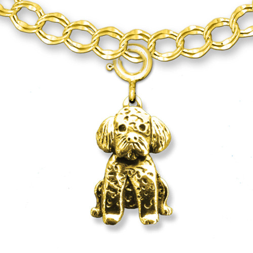 14K Solid Gold Portuguese Water Dog Charm