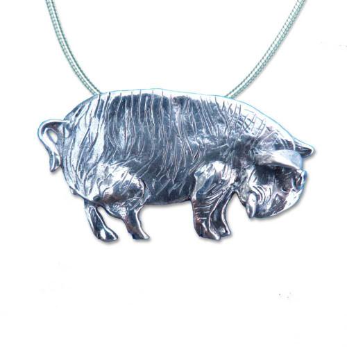 Sterling Silver Kunekune Pig Large Pendant