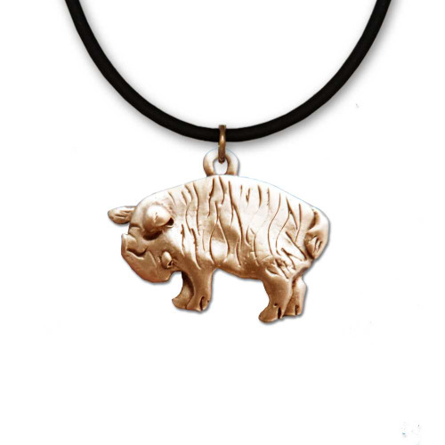 Bronze Kunekune Pig Necklace