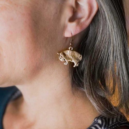 Bronze Kunekune Pig Earrings