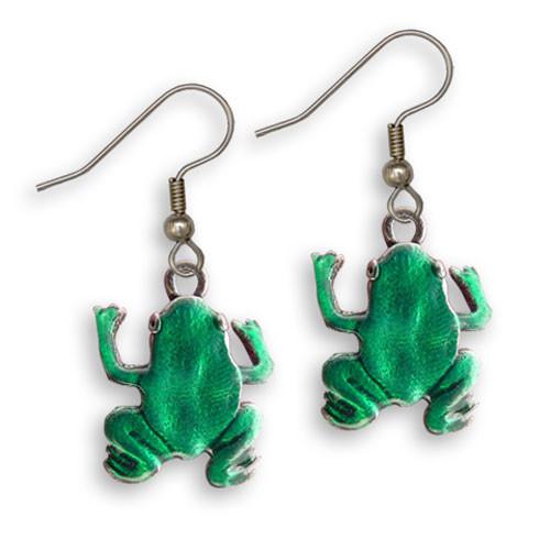Enamel Green Frog Earrings