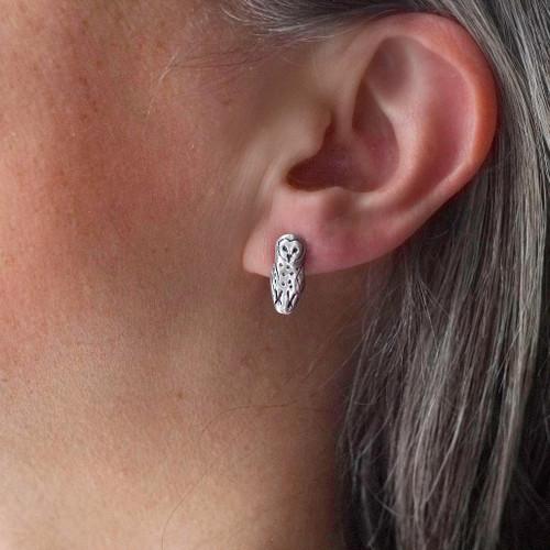 Sterling Silver Barn Owl Post Earrings