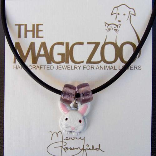 Enamel White Rabbit Necklace