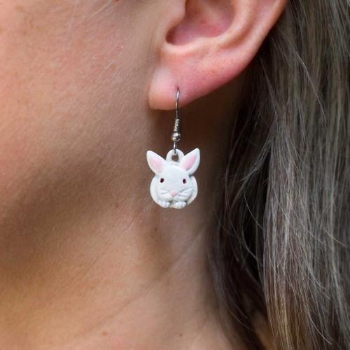 Enamel White Rabbit Earrings
