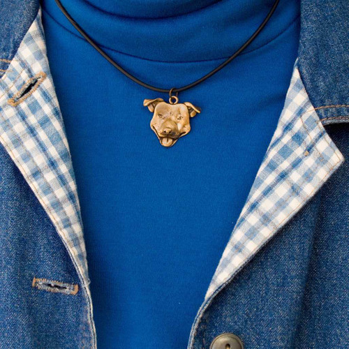 Bronze Happy Pit Bull Necklace