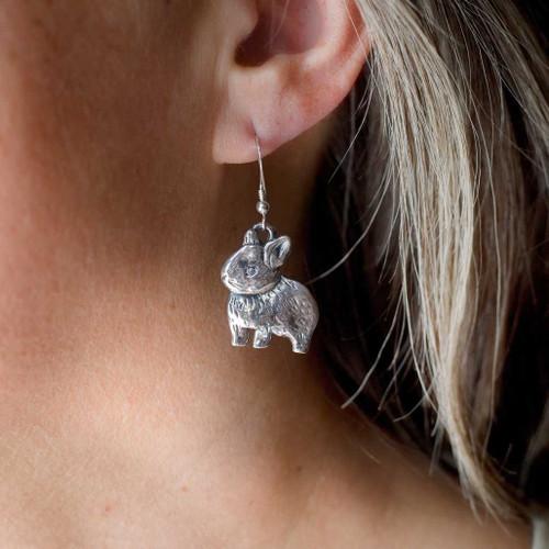 Sterling Silver Netherland Dwarf Rabbit Earrings