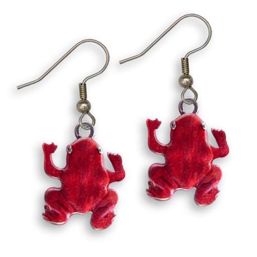 Enamel Red Frog Earrings