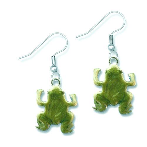 Enamel Swirled Green Frog Earrings