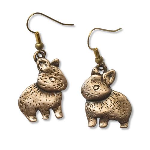 Bronze Netherland Dwarf Rabbit Earrings