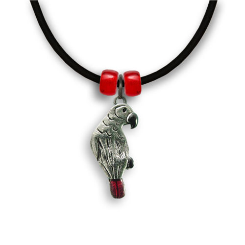 Enamel African Grey Parrot Necklace