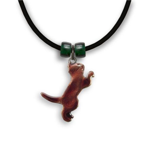 Enamel Brown Playful Cat Necklace