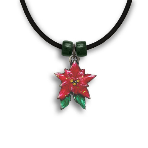 Enamel Poinsettia Necklace