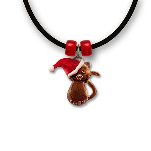 Enamel Santa Cat Necklace