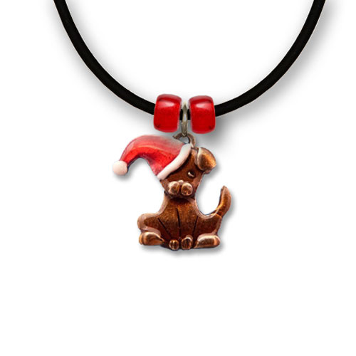 Enamel Santa Dog Necklace