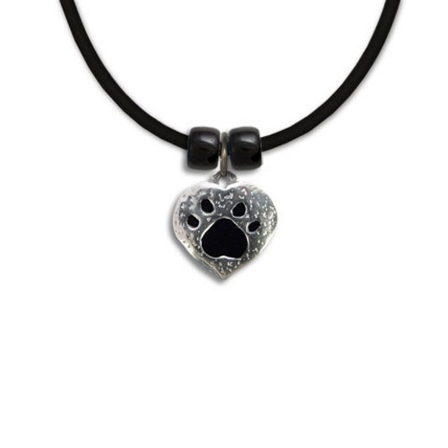 Enamel Black and Pewter Paw Print Heart Necklace