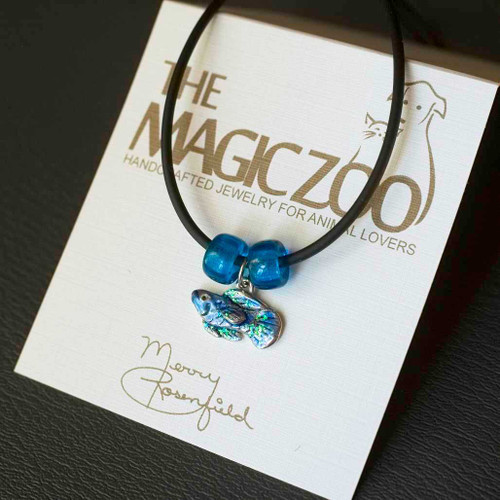 Enamel Sparkly Blue Fish Necklace