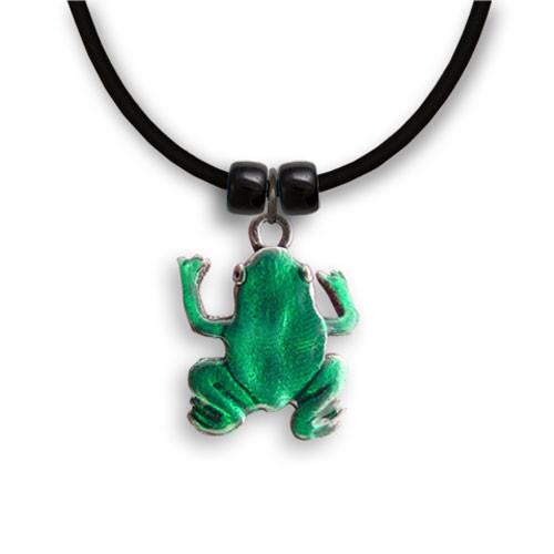 Enamel Green Frog Necklace
