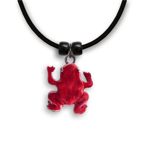 Enamel Red Frog Necklace