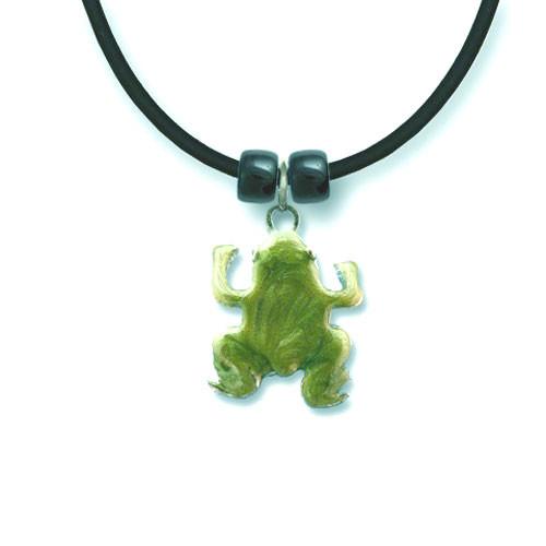 Enamel Swirled Green Frog Necklace