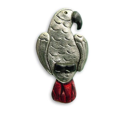 Enamel African Grey Parrot Pin