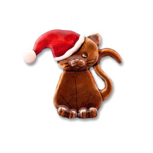 Enamel Santa Cat Pin
