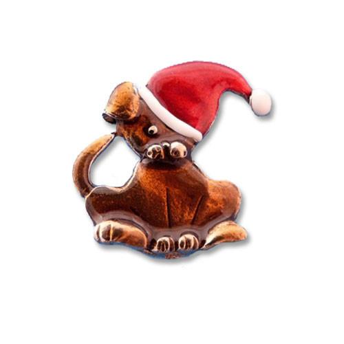 Enamel Santa Dog Pin