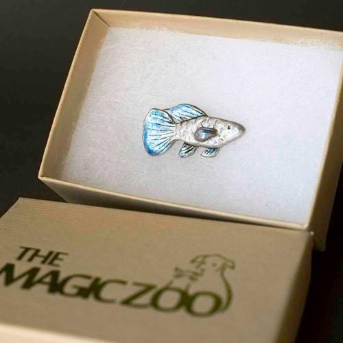Enamel Lilac Blue Fish Lapel Pin