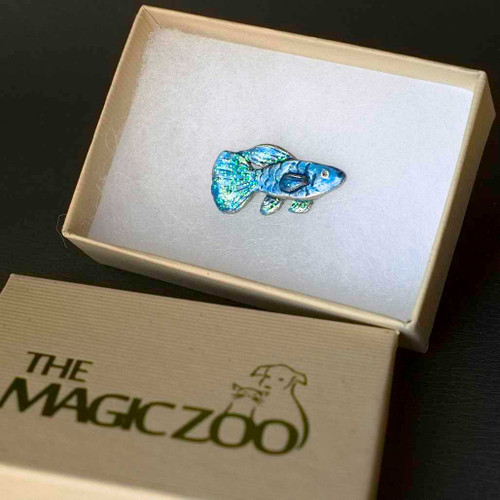 Enamel Sparkly Blue Fish Lapel Pin