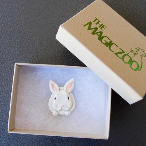 Enamel White Rabbit Pin