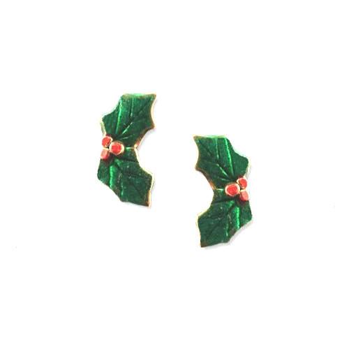 Enamel Green Holly Post Earrings