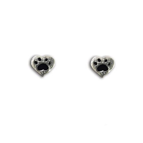 Enamel Black and Pewter Paw Print Heart Post Earrings